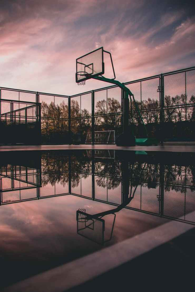 silhouette photo of portable basketball
